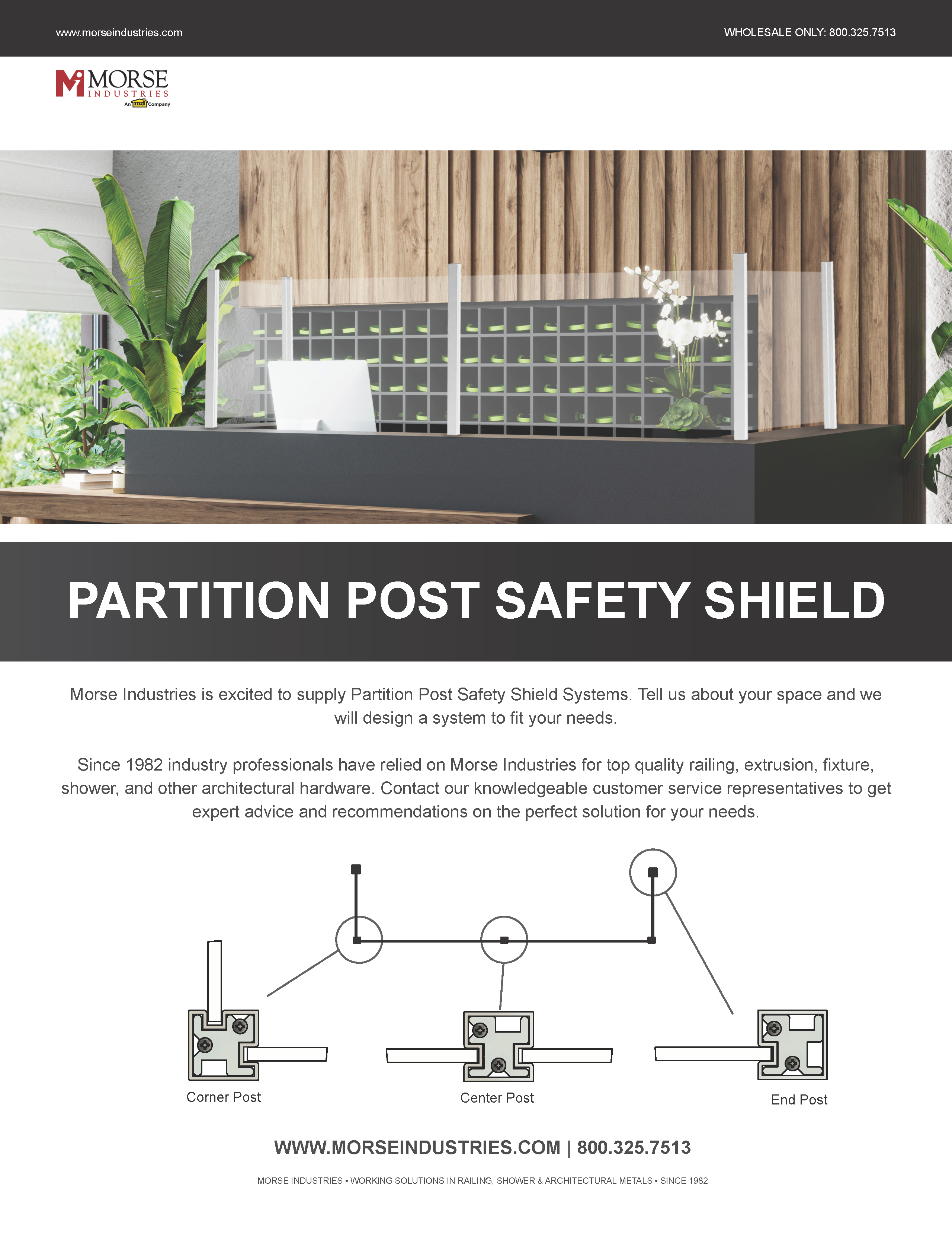 Partition Post Safety Shield
