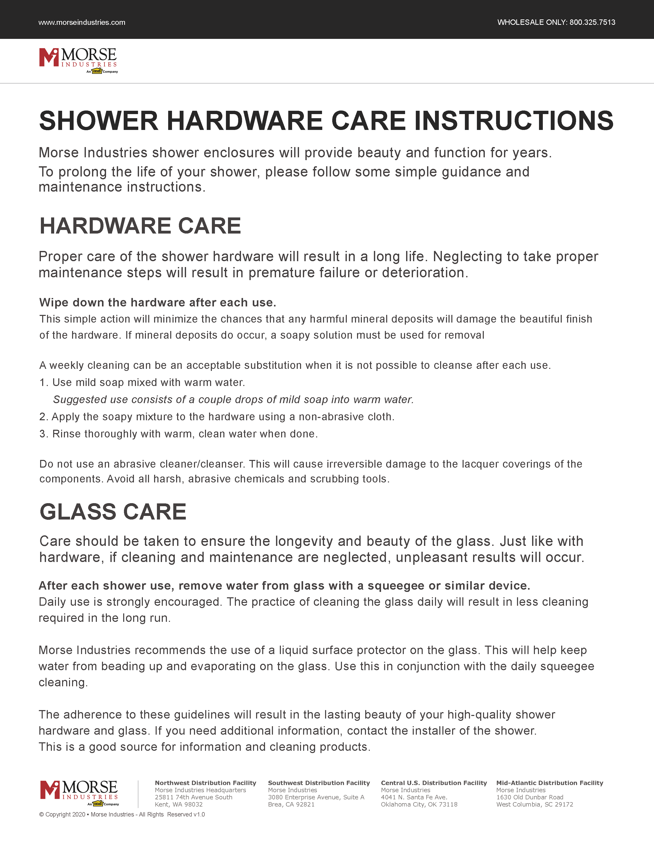 Shower Care Instructions