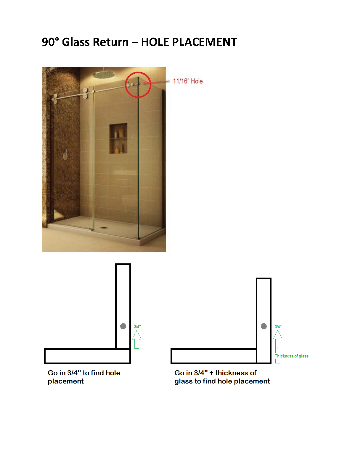 Tranquility Gliding Shower Door Hole Placement